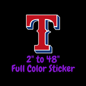 Texas Rangers Full Color Vinyl Sticker ; Hydroflask decal  Laptop Decal Yeti Decal ; Cell phone Decal Cornhole Decal Vinyl Car Decal