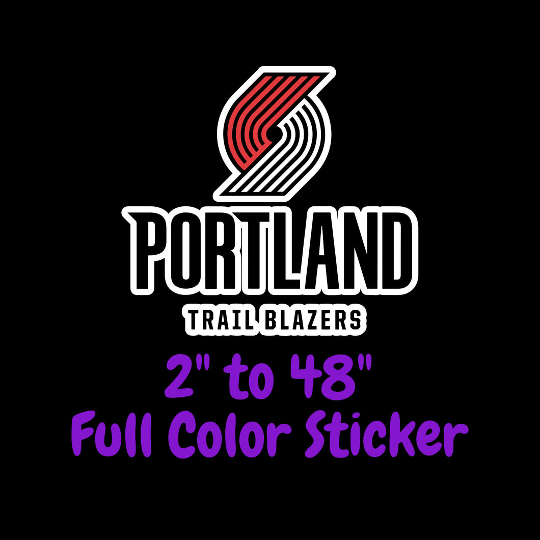 Portland Trail Blazers Full Color Vinyl Sticker ; Hydroflask decal Laptop Decal ; Yeti Decal Cell phone Decal Cornhole Decal Vinyl Car Decal