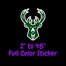 Load image into Gallery viewer, Milwaukee Bucks Full Color Vinyl Sticker ; Hydroflask decal Laptop Decal ; Yeti Decal Cell phone Decal Cornhole Decal Vinyl Car Decal