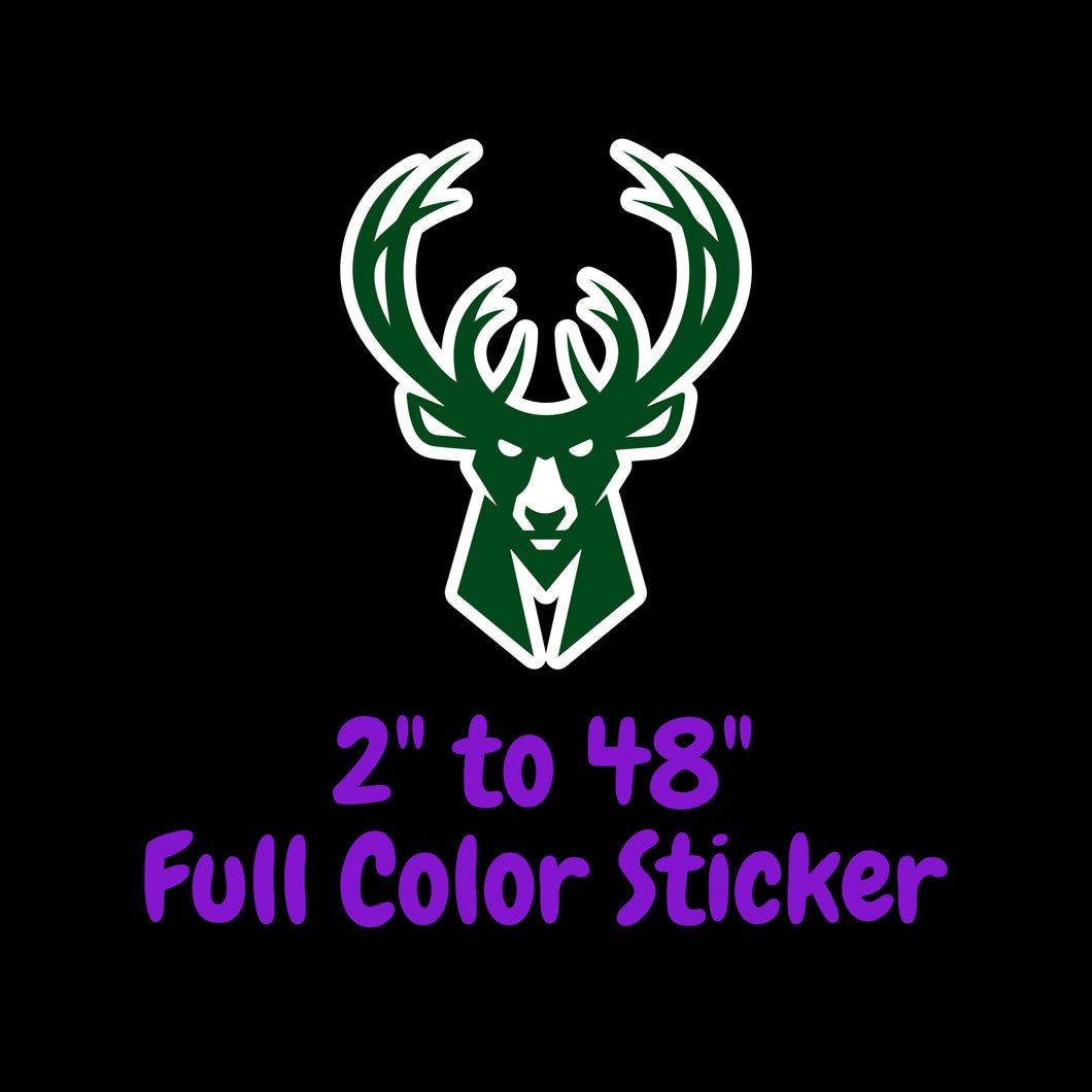 Milwaukee Bucks Full Color Vinyl Sticker ; Hydroflask decal Laptop Decal ; Yeti Decal Cell phone Decal Cornhole Decal Vinyl Car Decal