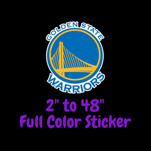 Golden State Warriors Full Color Vinyl Sticker ; Hydroflask decal Laptop Decal ; Yeti Decal Cell phone Decal Cornhole Decal Vinyl Car Decal