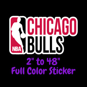Chicago Bulls Full Color Vinyl Sticker ; Hydroflask decal Laptop Decal ; Yeti Decal Cell phone Decal Cornhole Decal Vinyl Car Decal
