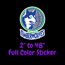Load image into Gallery viewer, Minnesota Timberwolves Full Color Vinyl Sticker ; Hydroflask decal Laptop Decal ; Yeti Decal Cell phone Decal Cornhole Decal Vinyl Car Decal