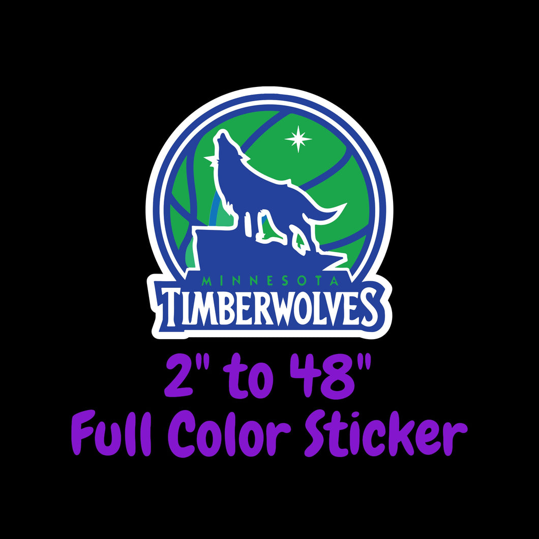 Minnesota Timberwolves Full Color Vinyl Sticker ; Hydroflask decal Laptop Decal ; Yeti Decal Cell phone Decal Cornhole Decal Vinyl Car Decal