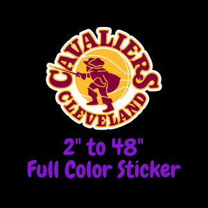 Cleveland Cavaliers Full Color Vinyl Sticker ; Hydroflask decal Laptop Decal ; Yeti Decal Cell phone Decal Cornhole Decal Vinyl Car Decal