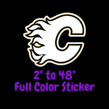 Load image into Gallery viewer, Calgary Flames Full Color Vinyl Sticker ; Hydroflask decal ; Laptop Decal ; Yeti Decal Cell phone Decal Cornhole Decal Vinyl Car Decal