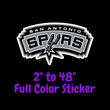 Load image into Gallery viewer, San Antonio Spurs Full Color Vinyl Sticker ; Hydroflask decal Laptop Decal ; Yeti Decal Cell phone Decal Cornhole Decal Vinyl Car Decal
