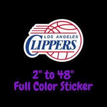 Load image into Gallery viewer, Los Angeles Clippers Full Color Vinyl Sticker ; Hydroflask decal Laptop Decal ; Yeti Decal Cell phone Decal Cornhole Decal Vinyl Car Decal