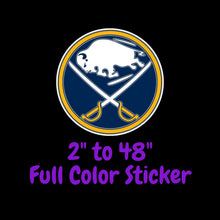 Load image into Gallery viewer, Buffalo Sabres Full Color Vinyl Sticker ; Hydroflask decal ; Laptop Decal ; Yeti Decal Cell phone Decal Cornhole Decal Vinyl Car Decal