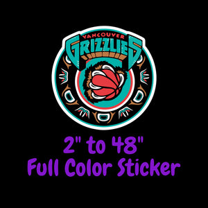 Memphis Grizzlies Full Color Vinyl Sticker ; Hydroflask decal Laptop Decal ; Yeti Decal Cell phone Decal Cornhole Decal Vinyl Car Decal