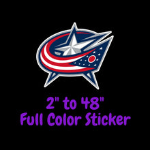 Load image into Gallery viewer, Columbus Blue Jackets Full Color Vinyl Sticker ; Hydroflask decal ; Laptop Decal  Yeti Decal Cell phone Decal Cornhole Decal Vinyl Car Decal