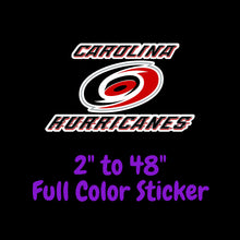 Load image into Gallery viewer, Carolina Hurricanes Full Color Vinyl Sticker ; Hydroflask decal ; Laptop Decal ; Yeti Decal Cell phone Decal Cornhole Decal Vinyl Car Decal