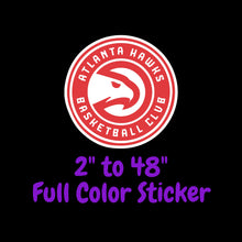 Load image into Gallery viewer, Atlanta Hawks Full Color Vinyl Sticker ; Hydroflask decal Laptop Decal ; Yeti Decal Cell phone Decal Cornhole Decal Vinyl Car Decal