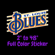 Load image into Gallery viewer, St Louis Blues Full Color Vinyl Sticker ; Hydroflask decal ; Laptop Decal  Yeti Decal Cell phone Decal Cornhole Decal Vinyl Car Decal