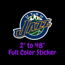 Load image into Gallery viewer, Utah Jazz Full Color Vinyl Sticker ; Hydroflask decal Laptop Decal ; Yeti Decal Cell phone Decal Cornhole Decal Vinyl Car Decal