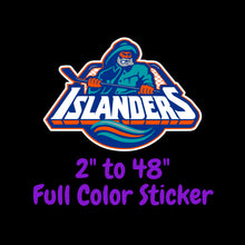 Load image into Gallery viewer, New York Islanders Full Color Vinyl Sticker ; Hydroflask decal ; Laptop Decal  Yeti Decal Cell phone Decal Cornhole Decal Vinyl Car Decal