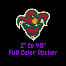 Load image into Gallery viewer, Minnesota Wild Full Color Vinyl Sticker ; Hydroflask decal ; Laptop Decal ; Yeti Decal Cell phone Decal Cornhole Decal Vinyl Car Decal