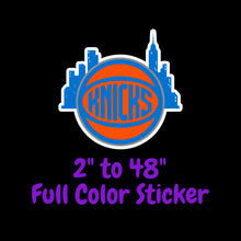 Load image into Gallery viewer, New York Knicks Full Color Vinyl Sticker ; Hydroflask decal Laptop Decal ; Yeti Decal Cell phone Decal Cornhole Decal Vinyl Car Decal