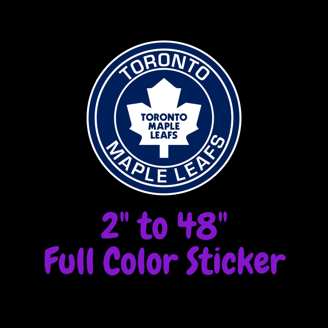 Toronto Maple Leafs Full Color Vinyl Sticker ; Hydroflask decal ; Laptop Decal  Yeti Decal Cell phone Decal Cornhole Decal Vinyl Car Decal