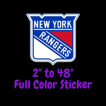 Load image into Gallery viewer, New York Rangers Full Color Vinyl Sticker ; Hydroflask decal ; Laptop Decal  Yeti Decal Cell phone Decal Cornhole Decal Vinyl Car Decal