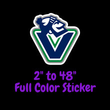 Load image into Gallery viewer, Vancouver Canucks Full Color Vinyl Sticker ; Hydroflask decal ; Laptop Decal ; Yeti Decal Cell phone Decal Cornhole Decal Vinyl Car Decal