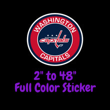 Load image into Gallery viewer, Washington Capitals Full Color Vinyl Sticker ; Hydroflask decal ; Laptop Decal ; Yeti Decal Cell phone Decal Cornhole Decal Vinyl Car Decal