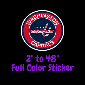 Washington Capitals Full Color Vinyl Sticker ; Hydroflask decal ; Laptop Decal ; Yeti Decal Cell phone Decal Cornhole Decal Vinyl Car Decal