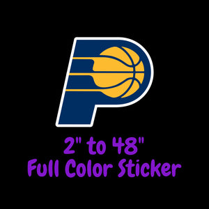 Indiana Pacers Full Color Vinyl Sticker ; Hydroflask decal Laptop Decal ; Yeti Decal Cell phone Decal Cornhole Decal Vinyl Car Decal