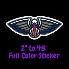 Load image into Gallery viewer, New Orleans Pelicans Full Color Vinyl Sticker ; Hydroflask decal Laptop Decal ; Yeti Decal Cell phone Decal Cornhole Decal Vinyl Car Decal