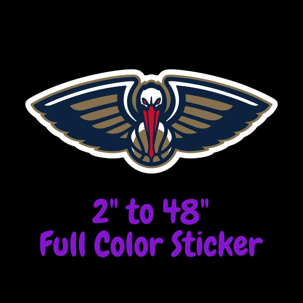 New Orleans Pelicans Full Color Vinyl Sticker ; Hydroflask decal Laptop Decal ; Yeti Decal Cell phone Decal Cornhole Decal Vinyl Car Decal