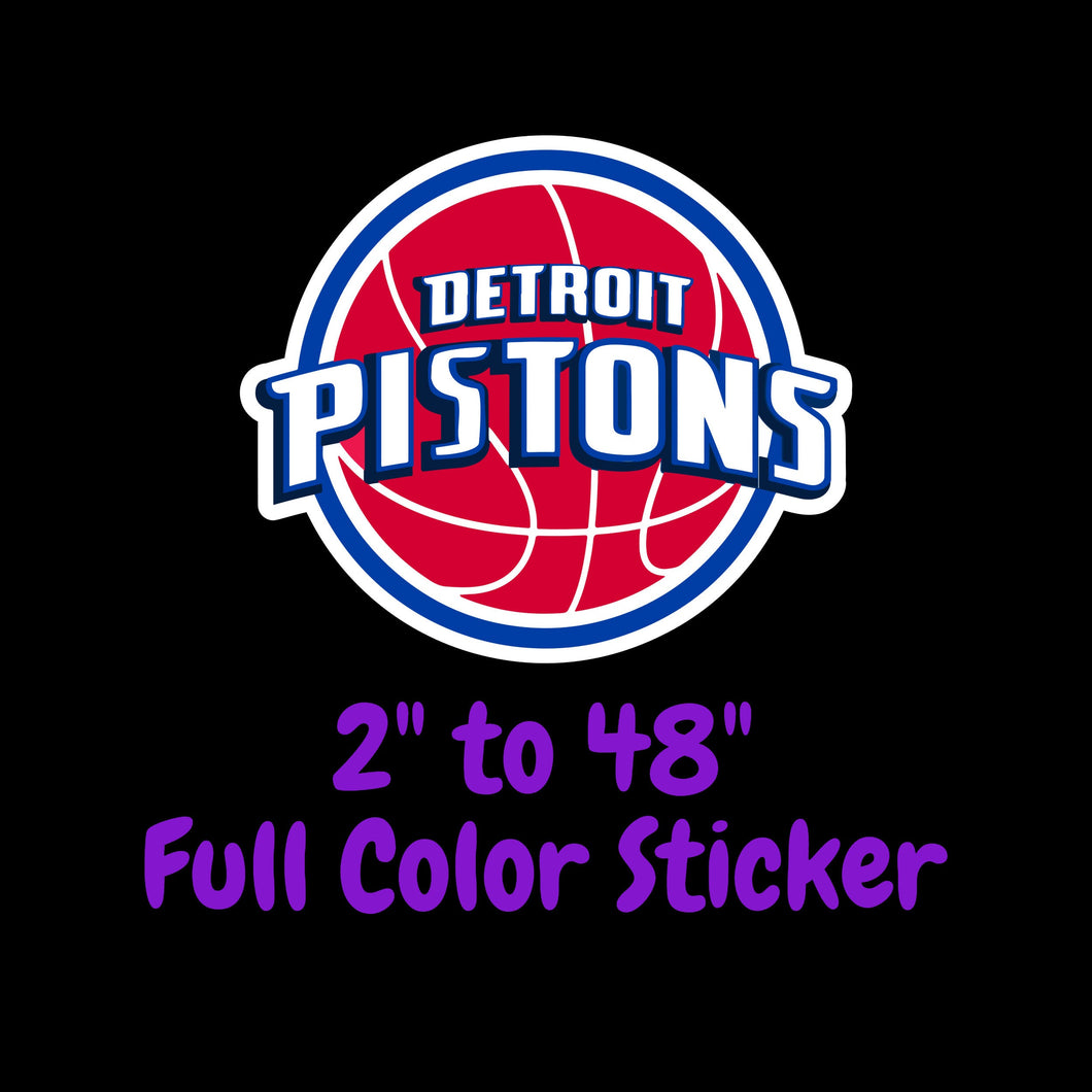 Detroit Pistons Full Color Vinyl Sticker ; Hydroflask decal Laptop Decal ; Yeti Decal Cell phone Decal Cornhole Decal Vinyl Car Decal