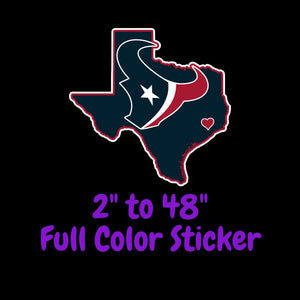 Houston Texans Full Color Vinyl Sticker ; Hydroflask decal ; Laptop Decal ; Yeti Decal Cell phone Decal Cornhole Decal Vinyl Car Decal
