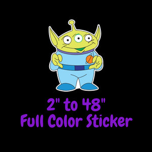 Toy Story Alien Full Color Vinyl Sticker ; Hydroflask decal ; Laptop Decal ; Yeti Decal Cell phone Decal Cornhole Decal Vinyl Car Decal