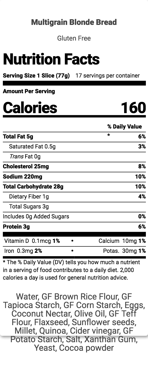 Gluten Free Multi Grain Bread Nutrition