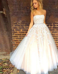 White Strapless lace tulle long wedding dress A-Line dress