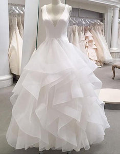 White v neck  Organza long wedding dress  Layered wedding dress