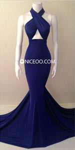 Sexy Royal Blue Halter Sleeveless Mermaid Long Chiffon Prom Dresses Evening Dresses