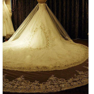 Luxury A Line Sweetheart Long Wedding Dresses Bride Gown With Beading - NICEOO