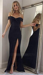 Black Off Shoulder Side Split Long Prom Dresses,Slim Line Sweetheart Evening Dresses - NICEOO