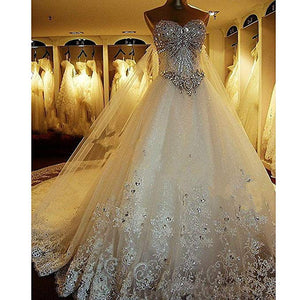 Luxury A Line Sweetheart Long Wedding Dresses Bride Gown With Beading