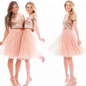 Simple Two Pieces Long Sequin Bridesmaid Dresses Cheap Prom Dresses