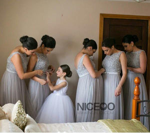 Simple Gray Sleeveless Empire Waist A Line Tulle Evening Dresses Formal Dresses - NICEOO