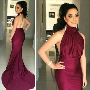 Burgundy Halter Open Back Mermaid Satin Evening Dresses Prom Dresses - NICEOO