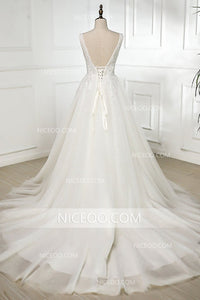 Ivory A Line V Neck Strap Tulle Wedding Dresses Best Bride Gown