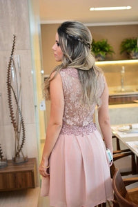 Simple Pale Pink Round Neck Sleeveless Short Prom Dresses Cheap Cocktail Dresses