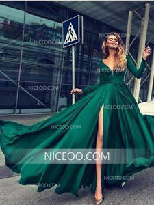 Red Deep V Neck Long Sleeves Prom Dresses,A Line Side Split Long Evening Dresses - NICEOO
