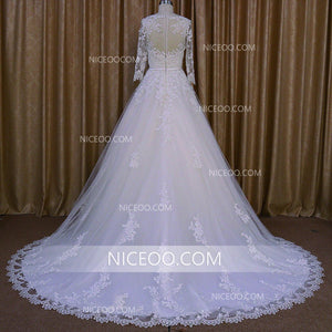 White Long Sleeves A Line Empire Waist Lace Wedding Dresses Bride Gown - NICEOO