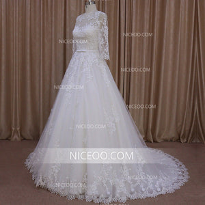White Long Sleeves A Line Empire Waist Lace Wedding Dresses Bride Gown