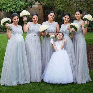 Simple Gray Sleeveless Empire Waist A Line Tulle Evening Dresses Formal Dresses