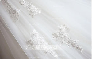 White Off Shoulder A Line Empire Waist Wedding Dresses Affordable Bride Gown - NICEOO
